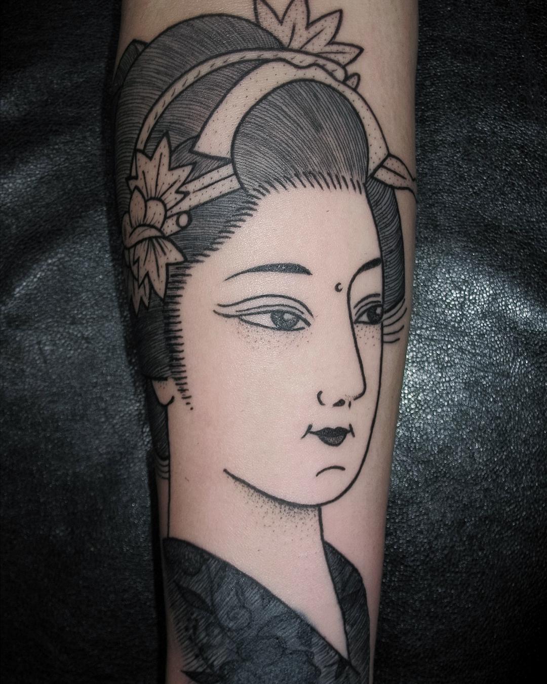 做广告创意设计师的乐先生小臂艺姬纹身图案