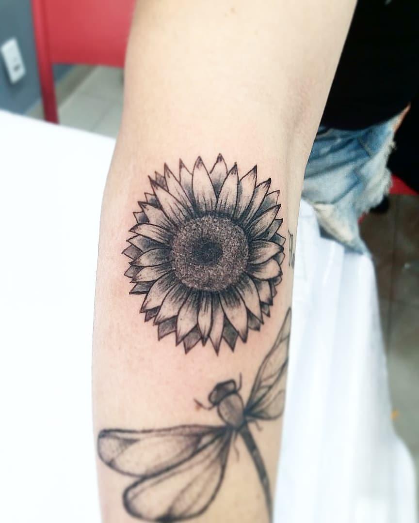常小姐手臂太阳花蜻蜓纹身图案